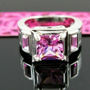 White Gold plated Pink ring size 6